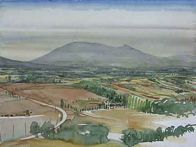 """Feldherrenhügel bei Paliano"", 2007, Aquarell, 40 x 50 cm"