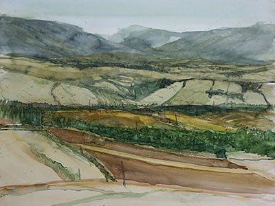 """""""Landschaft bei Paliano"""", 2007, Aquarell, 40 x 50 cm"""