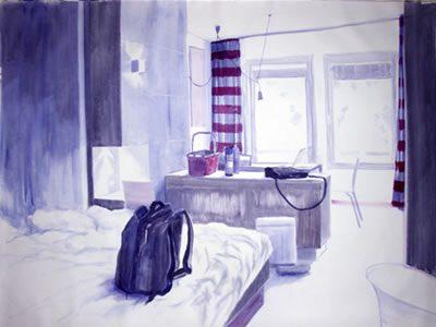 """interior # 205, 2007 (Hotel Wall Art, Prato)"", Acryl/LW, 145 x 200 cm"