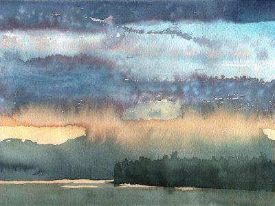 """Abendstimmung am Nisutlin River"", 2001, Aquarell, 24 x 32 cm  Youkon, Kanada"