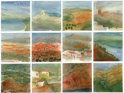 """""""Andalusisches Tagebuch"""", 1997, 15 Aquarelle á 10 x 11 cm, Sequenzen"""