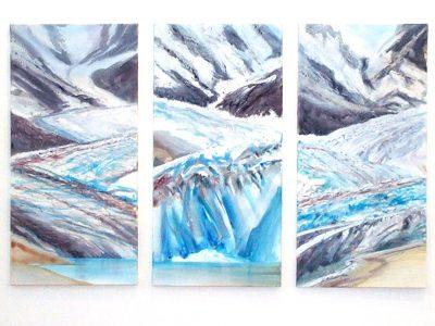 """Glacier Tryptic"", 2001, Acryl / LW, je 100 x 50 cm, Llewellyn Glacier, Atlin"