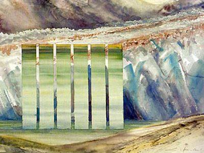 """""""Große Gletscherreflexion"""", 2001, Aquarell, 56 x 76 cm (Llewellyn Glacier, Atlin)"""