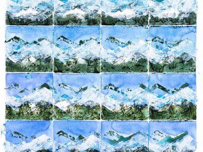 """""""Frühlingssequenzen I"""", 2001, Acryl / Papier, 64 x 42 cm  (Gmünd)"""