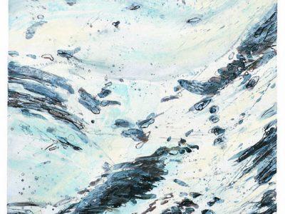 """""""Ausapern I"""", 2001, Acryl / Papier, 110 x 55 cm (Gmünd)"""