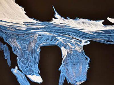 """""""Ohne Titel (Litzner Gletscher, irisierend), 2012, Acryl auf Leinwand, 120 x 150 cm, SilvrettAtelier 2012"""