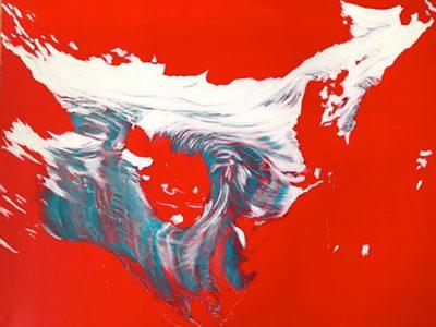 """ohne Titel (Ochsentaler Gletscher)"", 2014 -15, Acryl / LW, 120 x 150 cm  SilvrettAtelier 2014"