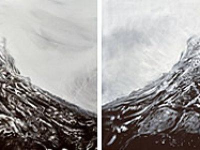 """""""ohne Titel (Lobspitze I + II)"""", Acryl / LW, je 70 x 100 cm, SilvrettAtelier 2014"""