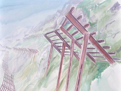 """Ohne Titel (Lawinenrechen)"" 2016; Acryl auf Leinwand; Maße 120 x 150 cm SilvrettAtelier Montafon 2016"