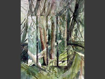"""""""Wald – Spiegelungen"""", 2001, Aquarell, 50 x 40 cm (Atlin)"""