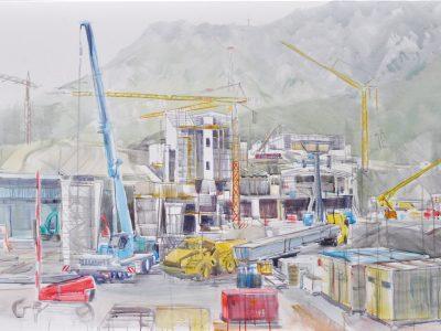 """ohne Titel (Rautz I)"" 2017, Acryl auf Leinwand 100 x 160 cm A.I.R. arlberg1800"