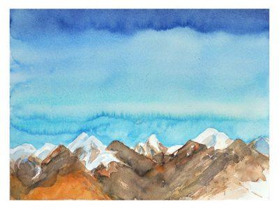 """Himalaya Range"", 2015, Aquarell, 30 x 40 cm, Aquarelltrekking, Mustang"