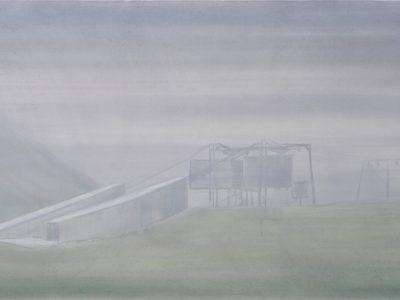 """Nebel I"", 2017, Acryl auf Leinwand 100 x 160 cm A.I.R. arlberg1800"