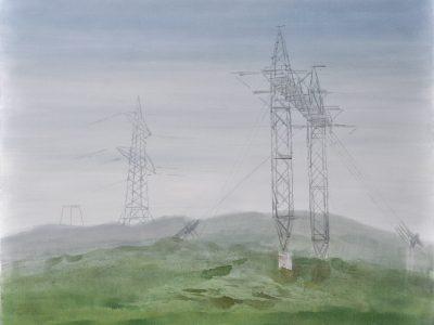 """""""Nebel II"""", 2017, Acryl auf Leinwand 120 x 150 cm A.I.R. arlberg1800"""