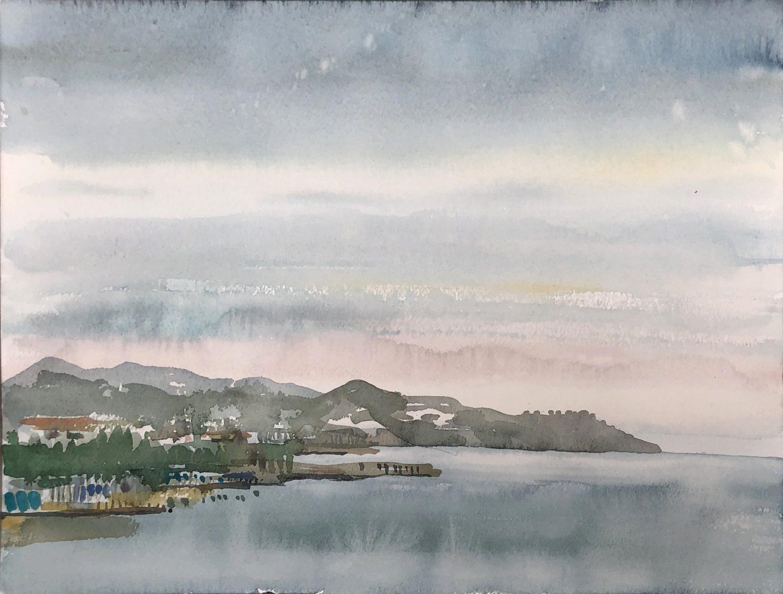 """""""Bucht von San Remo"""", 2019, Aquarell, 30 x 40 cm, Ligurien, Itaien"""