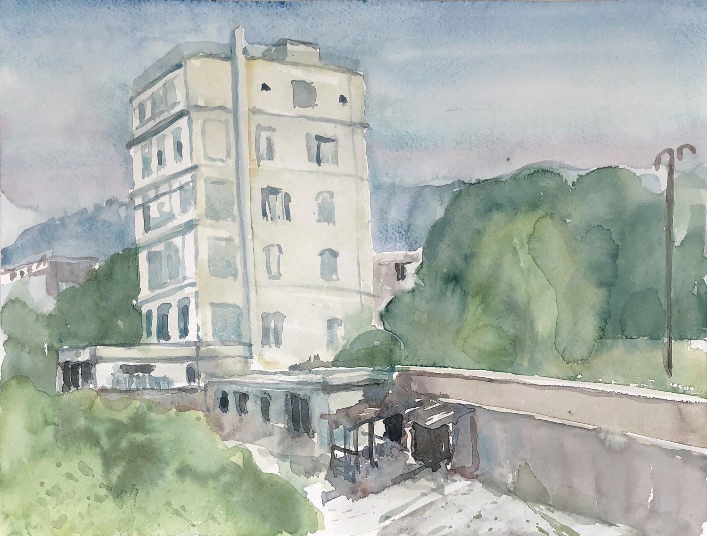 """Hotelruine, San Remo"", 2019, Aquarell, 30 x 40 cm, Ligurien, Itaien"