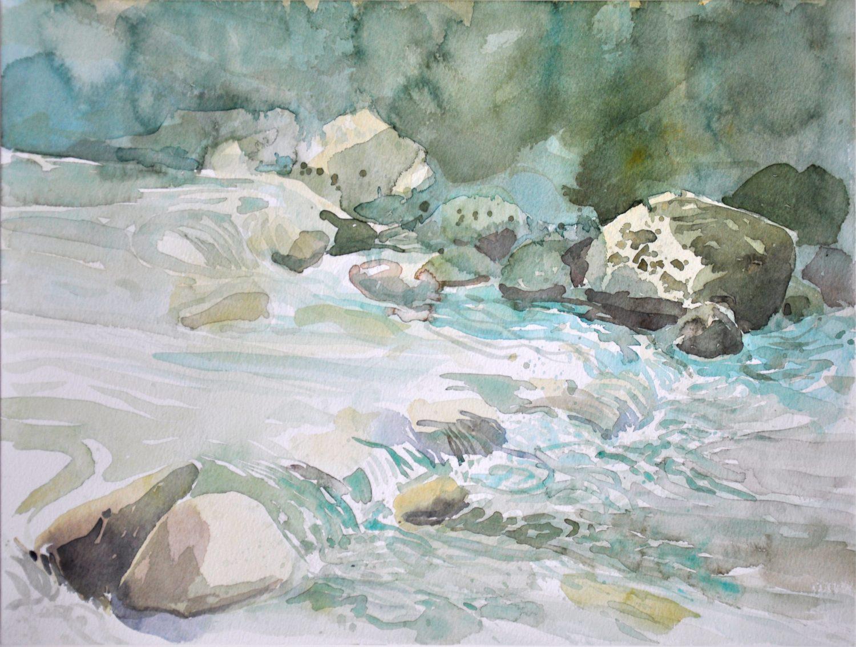 """""""An der Ill"""", 2012, Aquarell, 31 x 41 cm,  Montafon"""