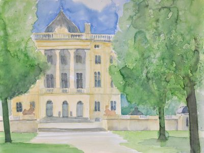 """Schloss Monaise"" , 2009, Aquarell, 36 x 48 cm, Moselland, EKA Trier"