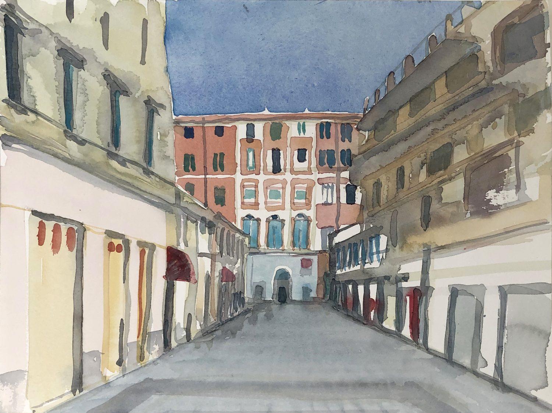 """Via Escoffier, San Remo"", 2019, Aquarell, 24 x 32 cm, Ligurien, Itaien"
