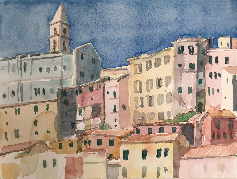 """""""Ventimiglia I"""", 2019, Aquarell, 30 x 40 cm, Ligurien, Itaien"""