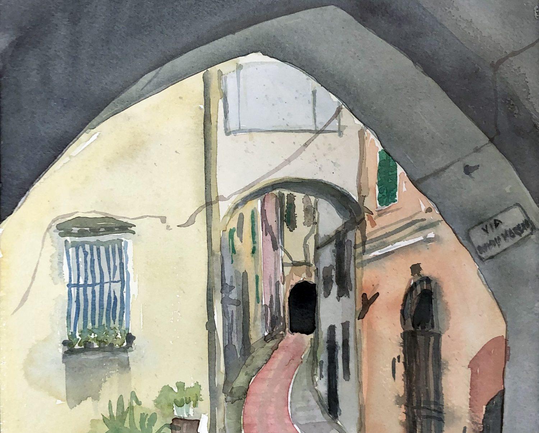 """""""Via Romolo Moreno, San Remo"""", 2019, Aquarell, 30 x 40 cm, Ligurien, Itaien"""